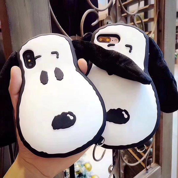 Fundas 3D Cartoon Dog With Big Ear Phone Case For Iphone X 6 6Plus 7 7Plus 8 8Plus Soft Silicon Phone Case With Strap