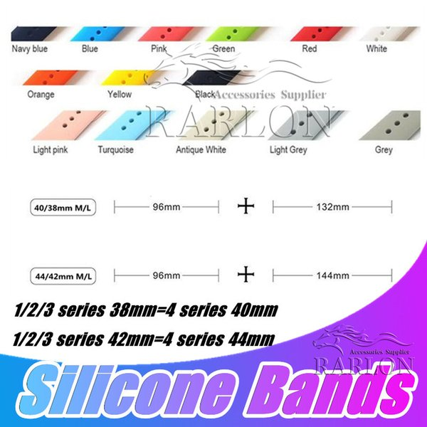28 Colors Silicone Sport Band Replacement For Apple Watch Series 4 3 2 1 Band Watchstrap Soft Rubber Wrist Bracelet Strap Wristband 40mm 44m