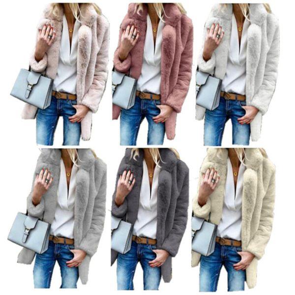 Women Faux Fur Sherpa Coat Plus Size Winter Long Thick Fleece Coats Lapel Neck Street Outwear Jacket Cardigans Fashion Fuzzy Coats S-3XL