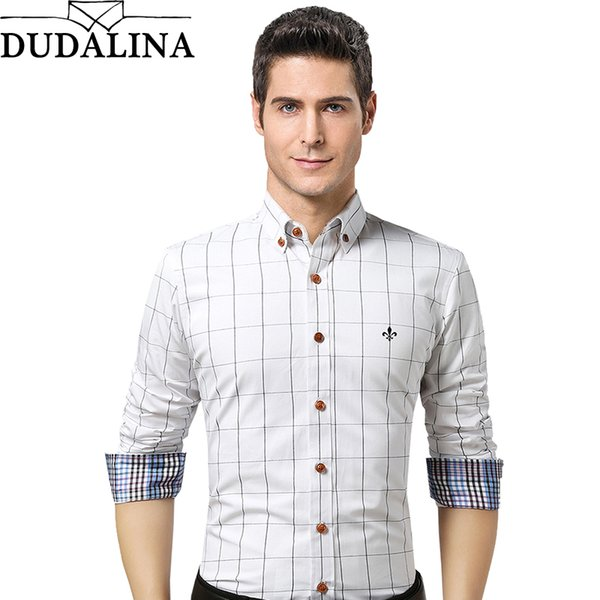 Dudalina Camicia maschile Marchio Abbigliamento Uomo Camicia manica lunga 2018  Estate Plaid Slim Fit Plus Size 0d631d50b6e