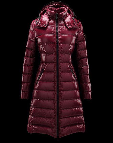 New brand woman long DOWN JACKET SHORT COAT MAYA OUTWEAR Down jacket long jacket Coat Black/red Hooded coat