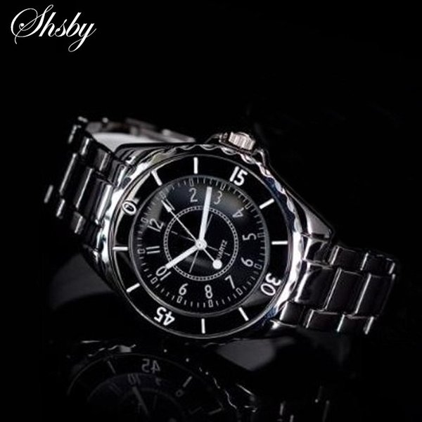 Shsby New Fashion Classic Quartz Ladies Watch Women Crystals dress Wristwatches Stainless steel watch with Black paint Feminino
