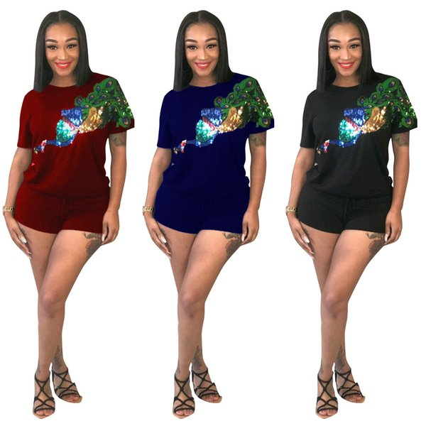 Fashion Sequines T-shirt+pants Short Sleeve Tracksuit 2pcs Set Women 2018 New Arrival Two-piece Summer Pullover Pants Casual Party Suits