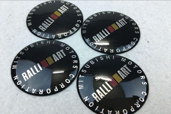 56.5/65mm RALLI ART Badge Emblem Sticker Car Wheel Center Cover Cap Hub Rim for Mitsubishi outlander lancer car styling