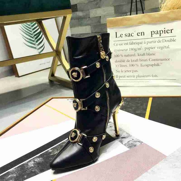 (Original Box) New Arrival Verces Women High Heels 10CM Boots Ankle Knight Winter Real Leather Shoes Size 35-41