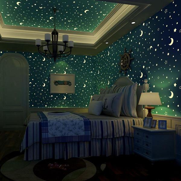 Großhandel Sterne Und Der Mond Vlies Leuchtende Tapete Rollen Kinderzimmer  Schlafzimmer Decke Fluoreszierende Tapete Decor Papel De Parede Von Hangu,  ...