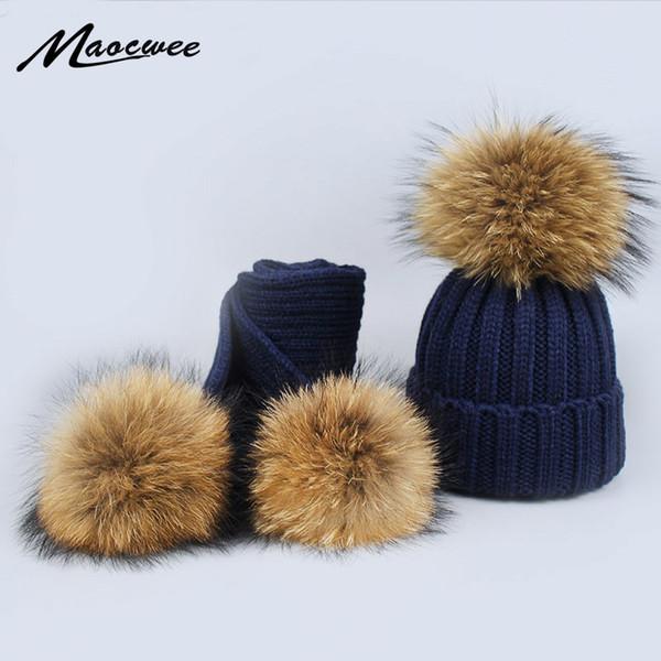 Nuevo 2 Unidades Set Niños Bufanda Sombrero de Invierno para Niñas Sombrero  de Piel de Mapache e81c391537a