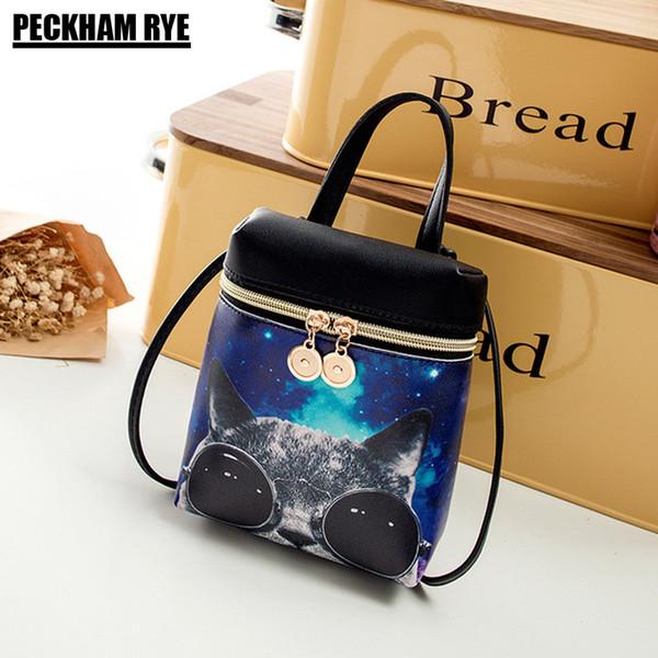 Fashion Girls Leather Handbags Cute Cartoon Cat Crossbody Bag For Women Mini PU Bucket Bags Small Bear Phone Coin Purse