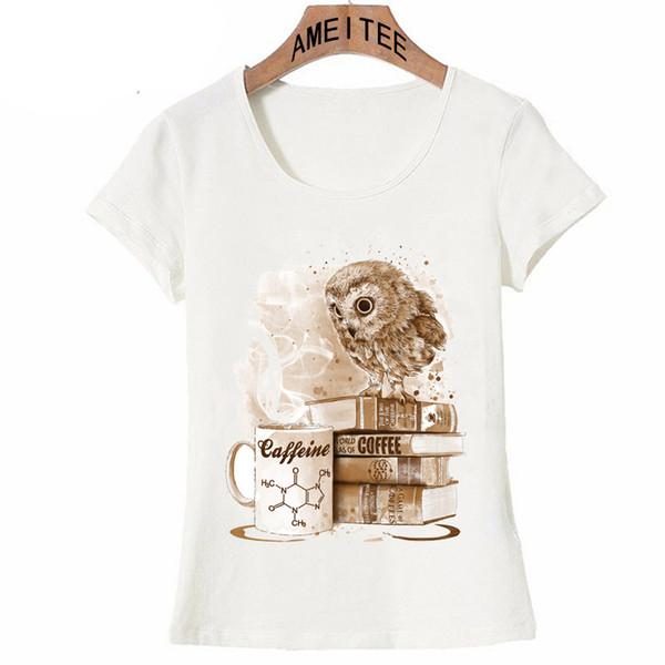 Новая мода Женская с коротким рукавом кофе одержимость Сова старинные футболки О-образным вырезом повседневная симпатичные девушки топы хип-хоп стиль тройники