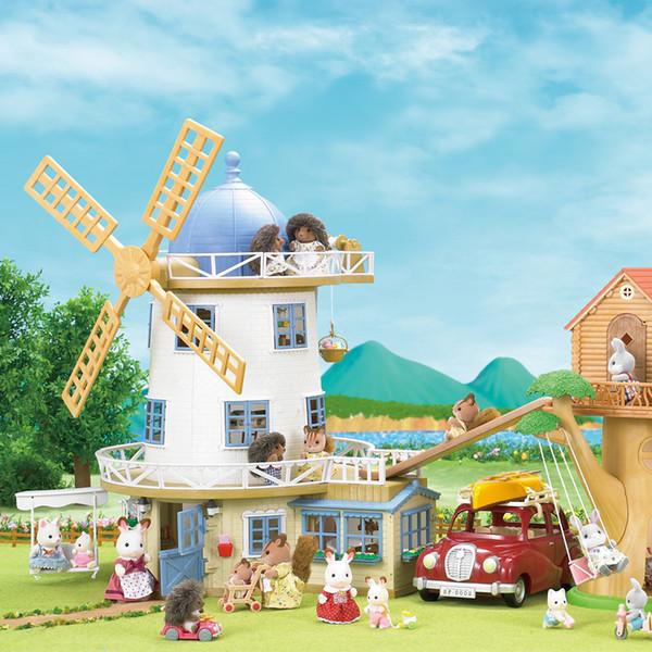 Syanian Families 어린이 장난감 풍차 전망대 놀이 집 선물 세트 인형 소녀 장난감 블록