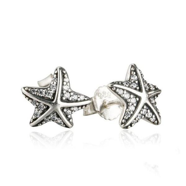 2018 Summer New Tropical Starfish Orecchini per donna / ragazza 925 Sterling-Silver-Jewelry Micro Crystal Pave Sea Star Orecchino
