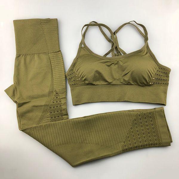 top popular Seamless Yoga Set Women Fitness Clothing Sportswear Woman Gym Leggings Padded Push-up Strappy Sports Bra 2 Pcs Sports Suits 2019