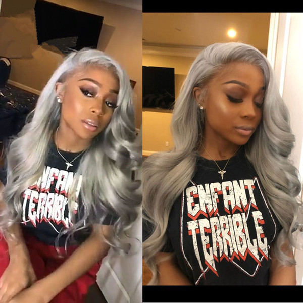 Lace Front Human Hair Wigs 150%Density Grey Color Wavy Wig Pre Plucked Brazilian Remy Hair Wig With Baby Hair Gluesess