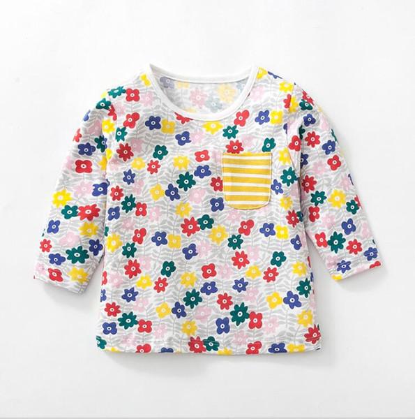 Cartone Animato Stampa Bambini T-Shirt Camicia di Cotone Manica Lunga Top Nice
