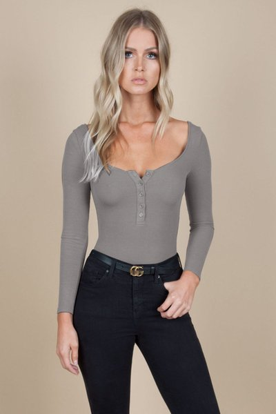 Ladies Autumn Solid Long Sleeve Leotard Romper Jumpsuit Women Sexy V-Neck Button Skinny Knitted Bodysuit