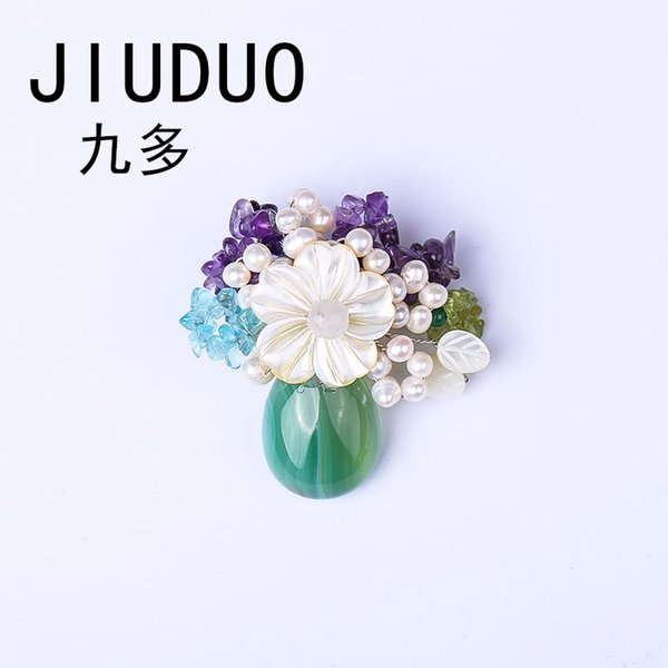JIUDUO New Elegant Anadem Flower Real Natural Pearl Vintage Nature Stone Garland Brooches for Women Dress Genuine Unique