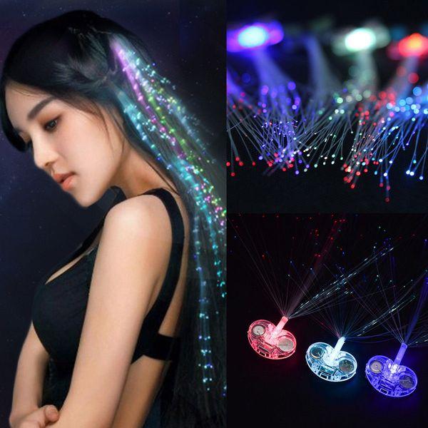 LED Light-Up Hairpin Luminous Braid Fiber Optic Flashing Hair Rave Party Optic Wire Hairpin Braids Hair Clip Christmas Halloween FFA746