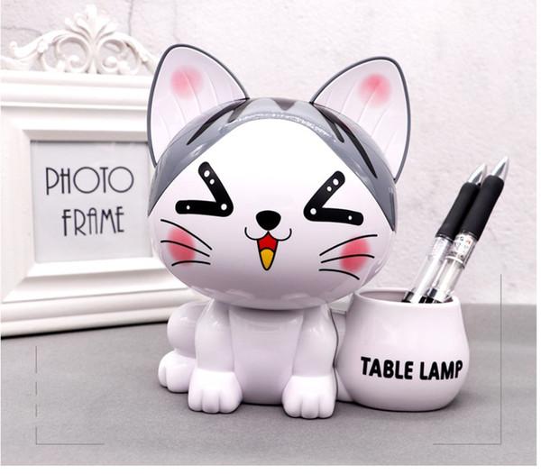 Cartoon niedliche Katze USB-Lade Nachtlicht Mini-LED-Lampe kann auch Pen Container und Penny Pot schöne LED-Gerät für Kinder lehnen Tischlampe