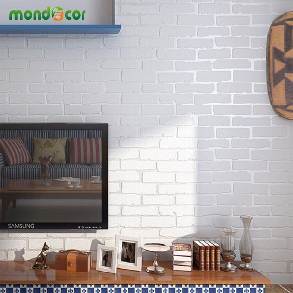 Mondecor Creamy White 3D Moderne Designer Brick Wallpaper Wohnkultur Non Woven Wandverkleidungen Für Wohnzimmer Schlafzimmer Hintergrund