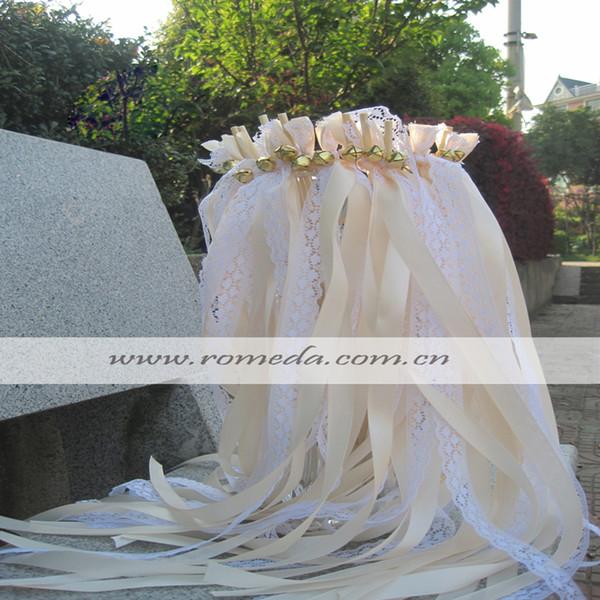 FREE SHIPPING--50pcs of Stye D LACE Wedding Ribbon Wands, Cream Wedding Confetti Twiring Stream Ribbon Sticks Wands with Bells