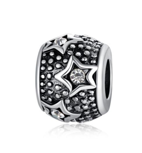 Wholesale 30Pcs Ocean Style Crystal Stars Charm Silver European Charms Bead Fit Pandora Bracelets Snake Chain Sterling Fashion DIY Jewelry
