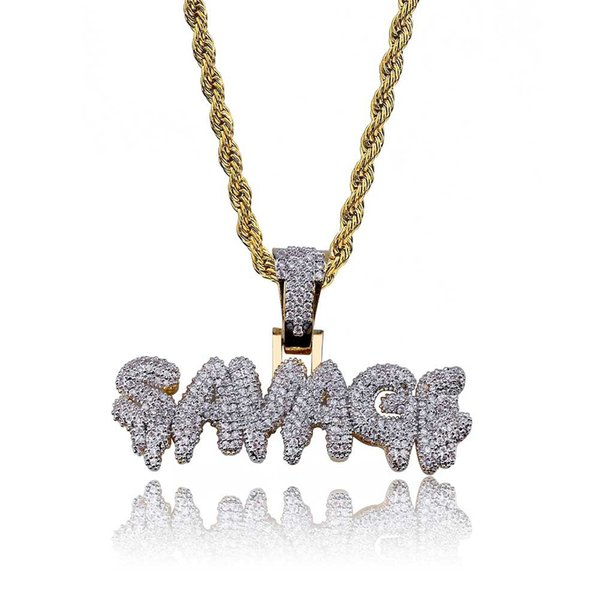2018 DIY Hip Hop Custom Name Combination Bubble Letter Pendant Necklace Micro Cubic Zirconia Gold Silver Color Copper Pendant Necklace