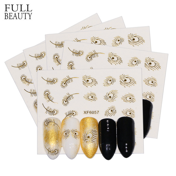 Full Beauty Nail Art 3D Sticker Gold Peacock Feather Adhesive Decal Design Sliders Foil Decoration For Nails Manicure CHXF6057