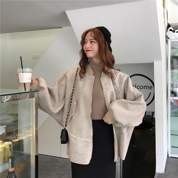New Autumn Winter Fashion Baseball Collar Long Woolen Coat Women Batwing Sleeve Loose Coats Solid Casual Outerwear