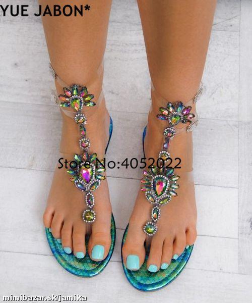 2018 Woman Sandals Women Shoes Rhinestones Gladiator Flat Sandals Crystal Chaussure Plus Size 43 tenis feminino Green Flip Flops