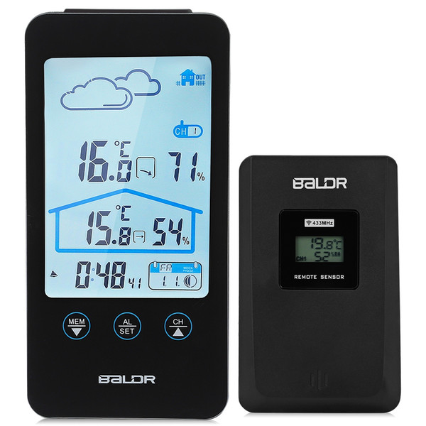 Touch Screen Wireless Thermometer Hygrometer Indoor Outdoor Weather Station Weather Forecast+ Moon Phase and Calendar Function Hot Sell NB