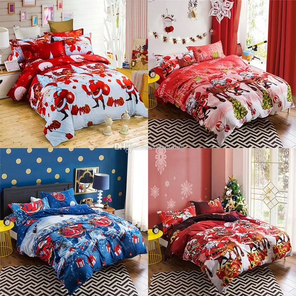 Happy Christmas Quilt cover + Sheets + 2 * pillow case 4pcs / set Cartoon Bambini Set di biancheria da letto Babbo natale Xmas cervo 3D stampa Copripiumino C5294