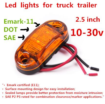 "trailer truck 10-30v 10 pcs Clear LED Amber light 2.5"" Oval Surface 2 Diode Trailer Truck Lorry Bus lamp side Marker Clearance"