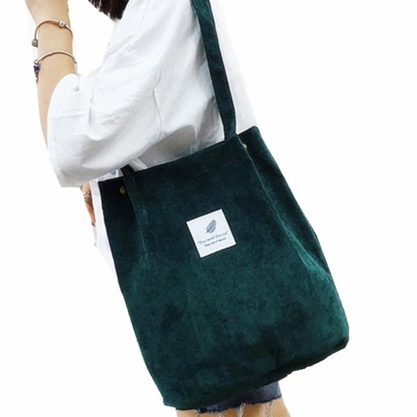 solid color corduroy with leaf pattern girls shopping bag women simple casual package life bags fashion folding students bag