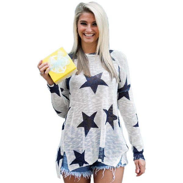2018 New Fashion Warm Women Long Sleeves Knitted Pullovers Sweater Star Print O Neck Dropped Shoulder Long Loose Knit Top White