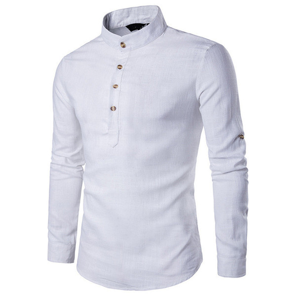 Handsome Boy White Pullover Shirts Male Linen Spring Tops Long Sleeve Business Man Novelty Button Blouse Men Wedding Blusa 2018