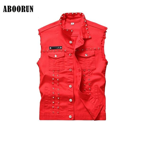 ABOORUN 2017 Mens Rivet Denim Vest Punk Style Black Red Slim fit Sleeveless Jackets for Male
