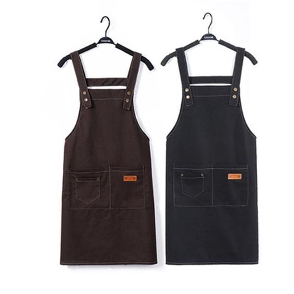 Koreanische verstellbare Hosenträger mit Taschen Canvas Schürze Outsides BBQ Küche Restaurant Reinigungsschürze für Frauen Männer Kochen