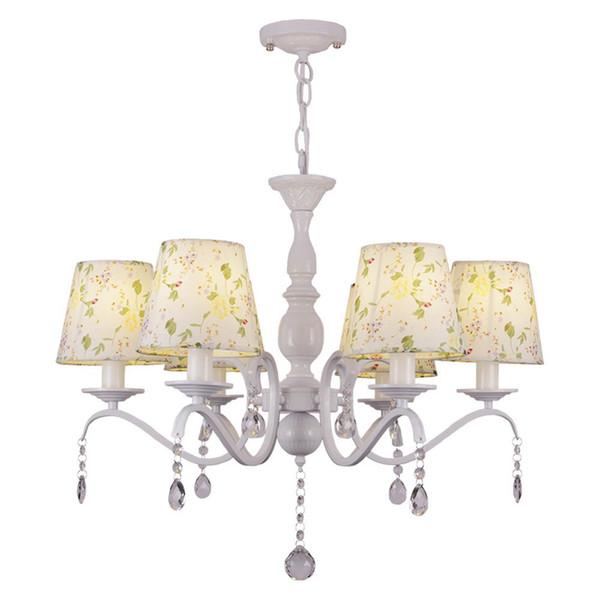 OOVOV Pastoral Style Crystal Fabric Chandelier Girls Room Bedroom Living  Room Pendant Lamps Light,White,D68cm,E27 Modern Pendant Drop Ceiling Light  ...