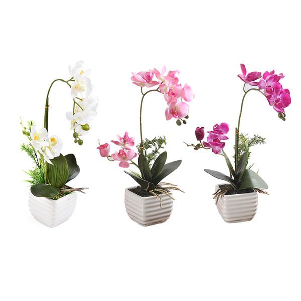 1set Silk Real Touch Home Decor Künstliche Phalaenopsis Orchidee Blume Anordnung Kleine Bonsai Pflanzen Mit Keramik Blumentopf
