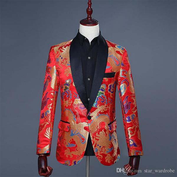 Оптовая 2018 флип-АП китайский стиль Красный Дракон печати шаблон свадьба жених наряд куртка тонкий этап производительности одежда формальное шоу