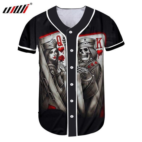 UJWI Benutzerdefinierte Baseball Jersey Print Schädel Königin Und König Poker 3D Buon T-shirt Mann Hip Hop Turnhallen Uniformen Shirts Casual T-shirt