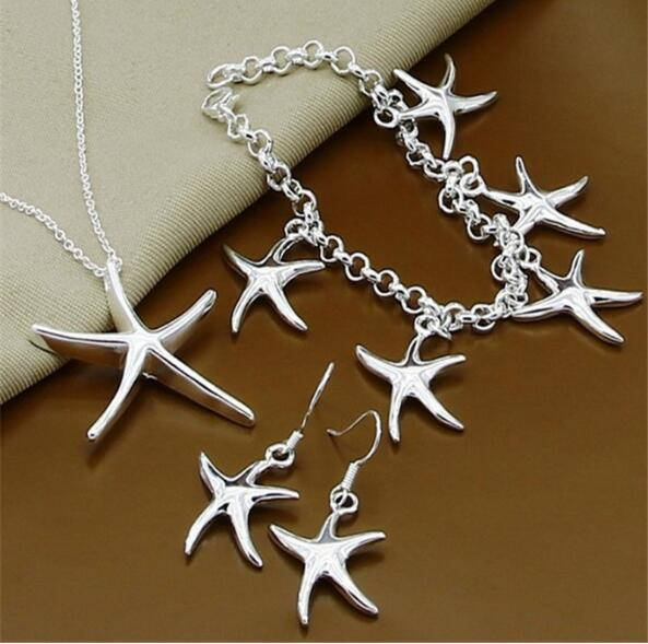 2018 fashion Jewellery 925 silver Starfish Bracelet Necklace Earrings Charismatic Starfish Pendant Jewellery set Fit Girl and woman