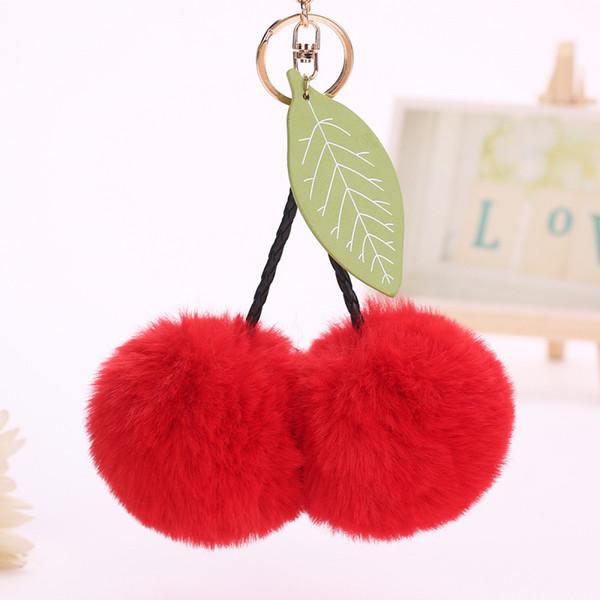 RE llaveiro fluffy pompom keychain gifts for women cherry pompon fake rabbit key chain ball car bag accessories key ring J40