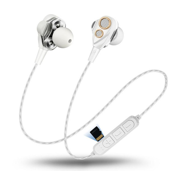 Großhandel 4 lautsprecher drahtlose bluetooth kopfhörer sport headset dual dynamischer fahrer kopfhörer hifi monitor stereo bass ohrhörer mic musik