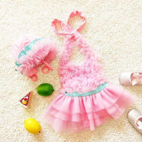 Toddler Kids Swimwear 2018 Neonate Lovely Swimsuit Girls Bambini Estate Costumi da bagno Tuta da bagno + Beautiful Sun Hat 2Pcs Beachwear