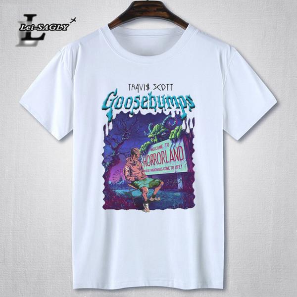Lei-SAGLY Rock Rapper Travis Scott Gráfico T Shirt Dos Homens de Manga Curta Hip Hop Impresso Masculino Preto T-Shirt de Algodão Dos Homens Casuais Tee