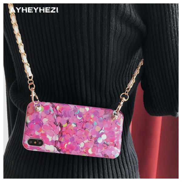 Elegante Chica Pink Fish scale Funda protectora del teléfono celular de crossbody con correa larga cadena Para iPhone X 8 7 6S 6 más estuche