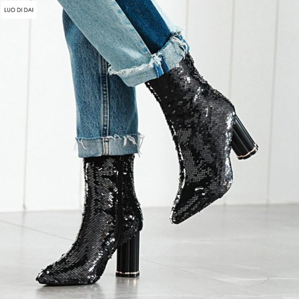 c730d3dd03 2018 New Women Sequin Boots Thigh High Booties Clear Heel Over Knee High  Boots Ladies Party Shoes Fashion Glitter Bling Booties Cheap Boots Brown ...