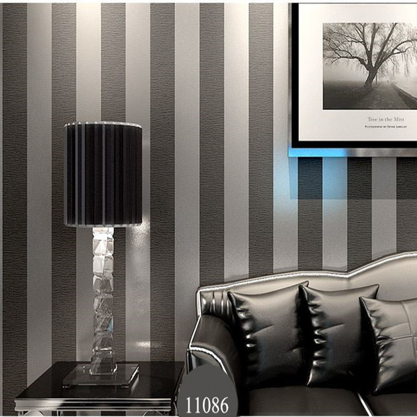 Wholesale-Modern Black Wallpaper Striped Purple And Silver Glitter Wall Paper Roll For Wall Living room Bedroom TV Sofa Backgrod wallpaper
