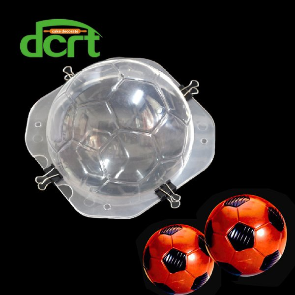 Dcrt 3D Football shape plastic chocolate mold ,fondant cake decorating tools with clips